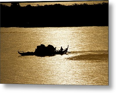 On Golden Waters Metal Print