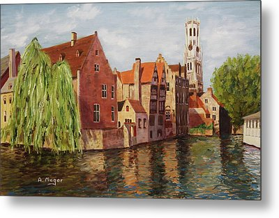 On The Canal Metal Print by Alan Mager