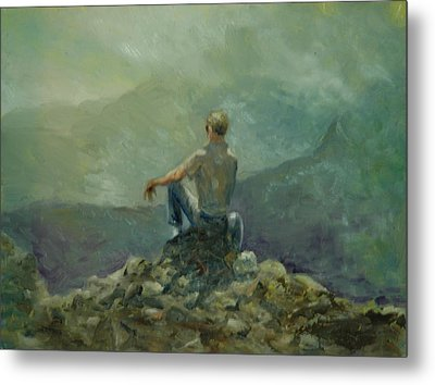 On The Top Of The Rockpile Metal Print by Aline Lotter
