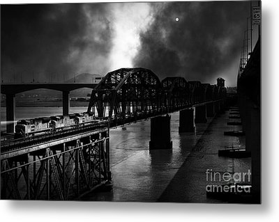Once Upon A Time In The Story Book Town Of Benicia California - 5d18849 - Black And White Metal Print by Wingsdomain Art and Photography