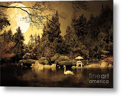 Once Upon A Time Under The Moon Lit Night . Golden Cut . 7d12782 Metal Print by Wingsdomain Art and Photography