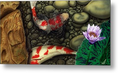 Metal Print featuring the painting One Fish Two Fish by Dan Menta