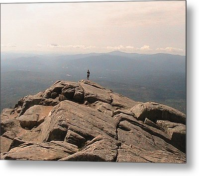 One Man Standing On Top Of The World Metal Print by Rachel Snell
