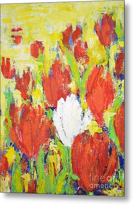 Metal Print featuring the painting One White Tulip by Kathleen Pio