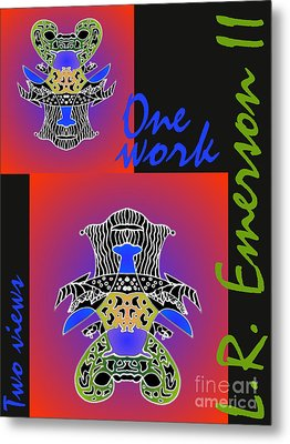 One Work Two Views 2009 Collectors Poster By Topsy Turvy Upside Down Masg Artist L R Emerson II Metal Print