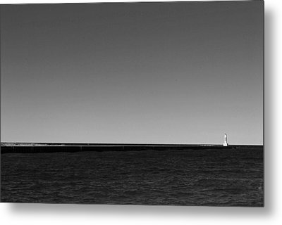 Onekama Pier In Black And White Metal Print