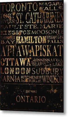 Ontario Typography Metal Print by Tanya Harrison