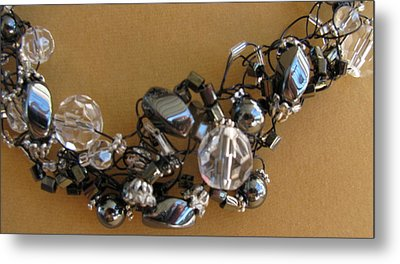 Onyx And Ice Metal Print by Annette Tomek