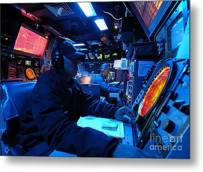 Operations Specialist Stands Watch Metal Print