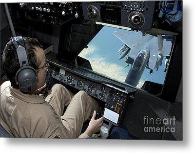 Operator Refuels An F-16 Fighting Metal Print by Stocktrek Images