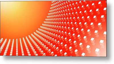 Orange Abstract Cubes In A Curve Metal Print by Ralf Hiemisch