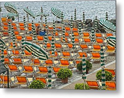 Orange Beach Chairs  Metal Print by Mauro Celotti