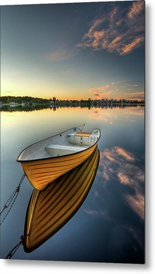 Orange Boat With Strong Reflection Metal Print by David Olsson