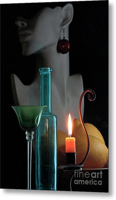 Metal Print featuring the photograph Orange Candle by Elf Evans