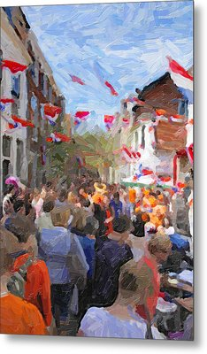 Orange Day Party Metal Print by Martin  Fry