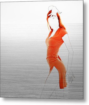 Orange Dress Metal Print by Naxart Studio