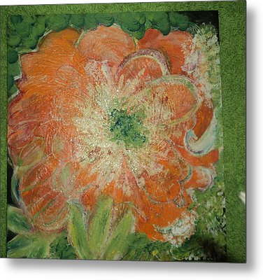 Orange Floral Fantasy Metal Print by Anne-Elizabeth Whiteway