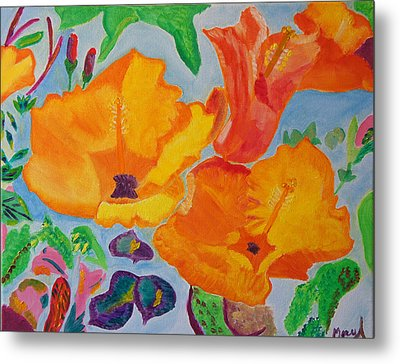 Metal Print featuring the painting Orange Flowers Reaching For The Sun by Meryl Goudey