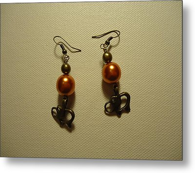 Orange Gold Elephant Earrings Metal Print