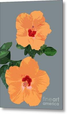 Orange Hibiscus Twins Metal Print by Karen Nicholson