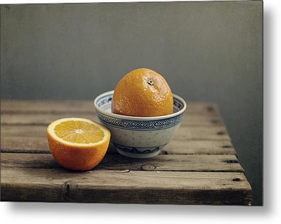 Orange In Chinese Bowl And Half Orange On Table Metal Print by Copyright Anna Nemoy(Xaomena)