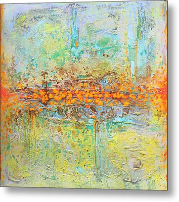 Metal Print featuring the painting Orange Interference by Lolita Bronzini