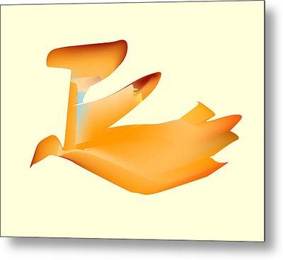 Orange Jetpack Penguin Metal Print by Kevin McLaughlin