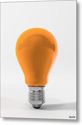 Orange Ligth Bulb Metal Print by BaloOm Studios