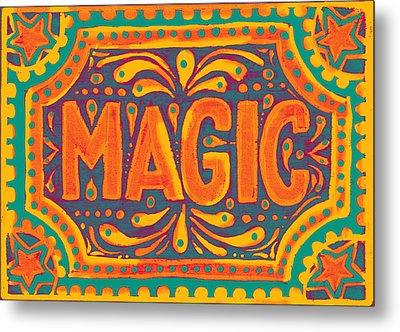 Metal Print featuring the painting Orange Magic  by Nada Meeks
