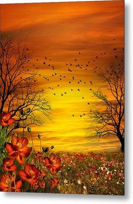 Orange Meadow Montage Metal Print by Julie L Hoddinott
