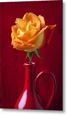 Orange Rose In Red Pitcher Metal Print by Garry Gay
