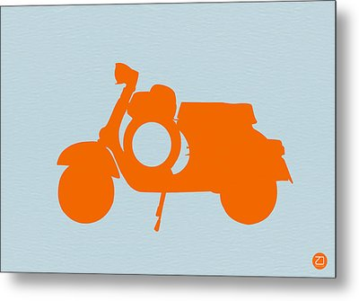Orange Scooter Metal Print by Naxart Studio