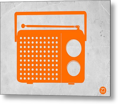 Orange Transistor Radio Metal Print by Naxart Studio