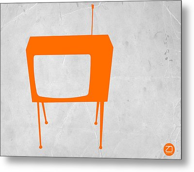 Orange Tv Metal Print by Naxart Studio