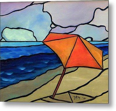 Orange Umbrella At The Beach Metal Print by David McGhee