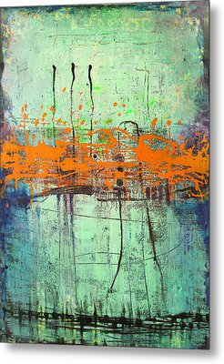 Metal Print featuring the painting Orange Visitation by Lolita Bronzini