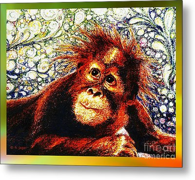 Metal Print featuring the drawing Orangutan Baby by Hartmut Jager