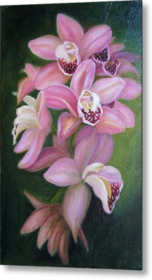 Metal Print featuring the painting Orchids by Marlyn Boyd