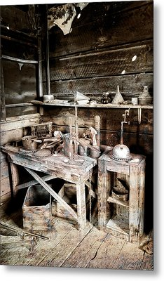 Ore Assay Shop Work Bench - Molson Ghost Town Metal Print by Daniel Hagerman
