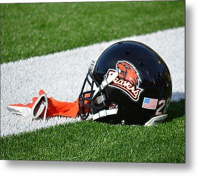 Oregon State Helmet Metal Print by Replay Photos