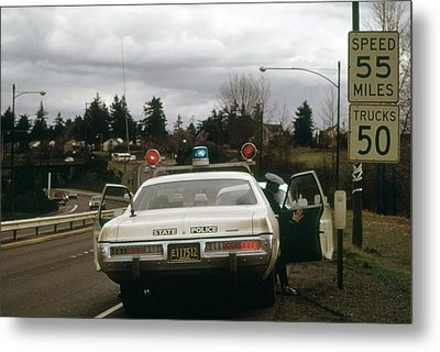 Oregon State Police Stops A Driver Who Metal Print by Everett