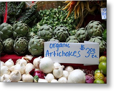 Organic Artichokes - 5d17065 Metal Print by Wingsdomain Art and Photography