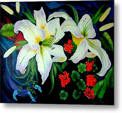 Metal Print featuring the painting Oriental Lily by Fram Cama