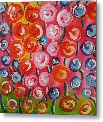 Original Modern Impasto Flowers Painting  Metal Print