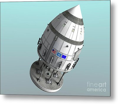 Orion-drive Spacecraft In Standard Metal Print by Rhys Taylor
