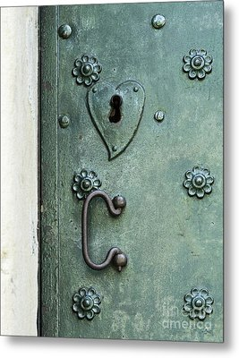 Metal Print featuring the photograph Ornamental Metal Doors In Teal by Agnieszka Kubica