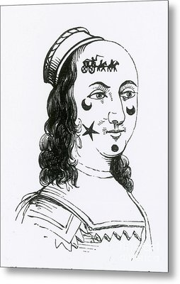 Ornamental Patches On Face, 17th Century Metal Print by Photo Researchers