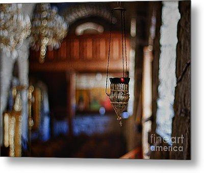 Orthodox Church Oil Candle Metal Print by Stelios Kleanthous