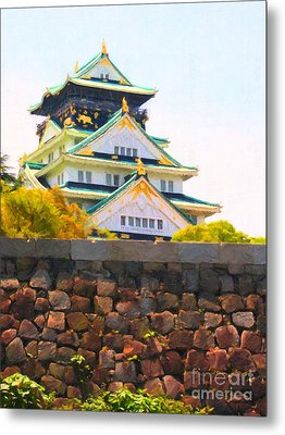 Osaka Castle - Painterly - 40d17138 Metal Print by Wingsdomain Art and Photography