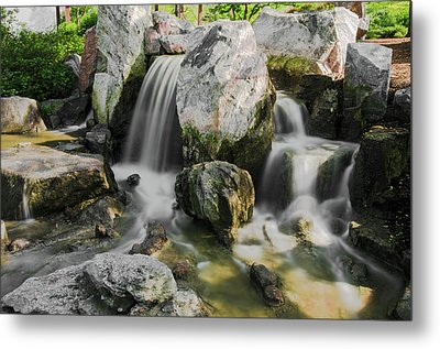 Osaka Garden Waterfall Metal Print